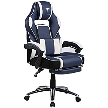 TOPSKY High Back Racing Style PU Leather Computer Gaming Office Chair (Navy&White) Ergonomic Reclining Design with Lumbar Cushion Footrest and Headrest …