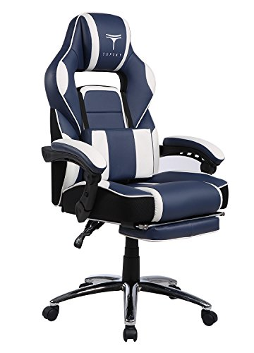 TOPSKY High Back Racing Style PU Leather Computer Gaming Office Chair (Navy&White) Ergonomic Reclining Design with Lumbar Cushion Footrest and Headrest