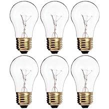 (Paquete de 6) A15/CL–A15Bombilla incandescente para aparatos–Acabado transparente.–Medium (E26)–Standard US Tamaño hogar Base, 25.00 , 130.00 volts