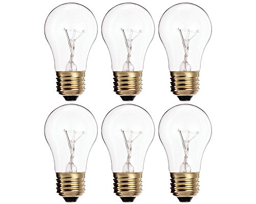 Clear Appliance Light Bulb ((Pack Of 6) 25A15/CL - 25-Watt A15 Incandescent Appliance Bulb - Clear Finish - Medium (E26) - Standard US Size Household Base 25W)