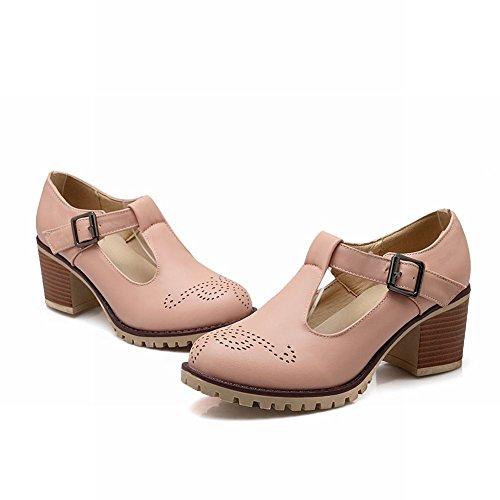 Carolbar Women's Charm Fashion Hollow Pattern Mid Heel Buckle Court Shoes Pink a28Se