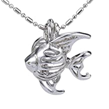Fish Silver Plated Locket Necklace Pendant Pack of 5pcs