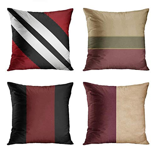 ArtSocket Set of 4 Throw Pillow Covers Silver Pattern Masculine Red Black Gray Stripes Dark Modern Jewel Burgundy Tan Decorative Pillow Cases Home Decor Square 18x18 Inches Pillowcases