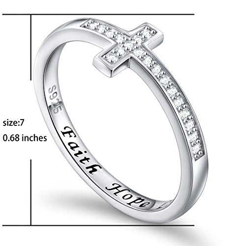DAOCHONG Inspirational Jewelry Sterling Silver Engraved Faith Hope Love Sideway Cross Ring, Size 6 7 8 (7) by DAOCHONG (Image #4)