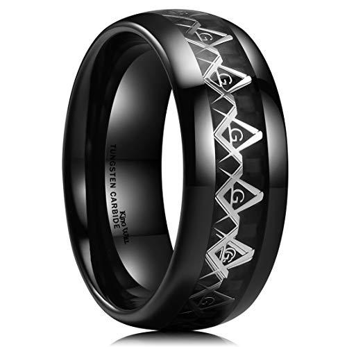 King Will Classic Mens 8mm Black Tungsten Carbide Ring Masonic Compass Black Carbon Fiber Inlay Wedding Band 11