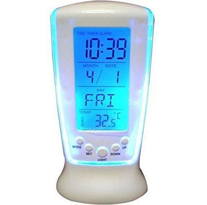 Generic SKB Digital Square Clock Calendar LED Light Alarm Clock with Light, DS-510 Battery Operated, Table Clock (Multicolor)