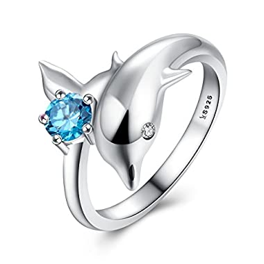 BAMOER New Arrival 925 Sterling Silver Jumping Dolphins Blue Love Engagement Ring for Women Gifts had