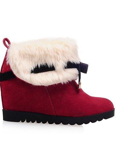 Xzz Botas Casual us5 Cuña Eu36 Uk3 Moda Red 5 Rojo negro 5 Beige Vellón A De Redonda us10 5 5 Mujer Vestido Uk8 Cuñas Cn35 Eu42 Amarillo Punta Cn43 Tacón Zapatos La 8rnOxH81