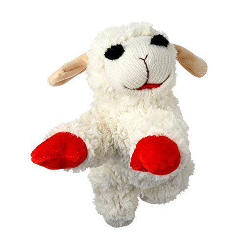 Multipet INTERNATIONAL Lambchop Plush Squeak Toy Mini for Pets, 6-Inch [2-Pack]
