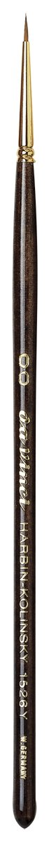 da Vinci Watercolor Series Paint Brush, Round Harbin Kolinsky Red Sable with Black Handle, Size 2/0 (1526Y-00)