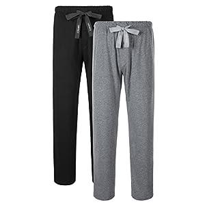 Genuwin Men's 2 Pack Sleep Pants Cotton Lounge Pants Jersey Knit Pajama Pants Big and Tall Pajama Bottoms S~XL
