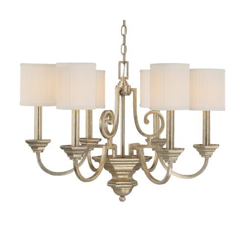 Capital Lighting 4006WG-484 Chandelier with White Fabric Shades, Winter Gold Finish