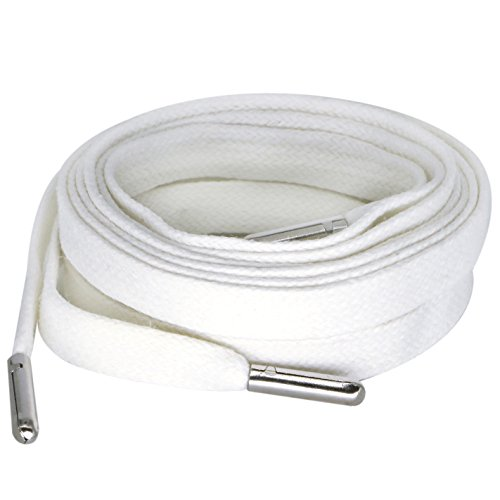 Flat Wax Shoelaces with Metal Tips for Sneakers Length 125CM White Color Silver - Metal Flat