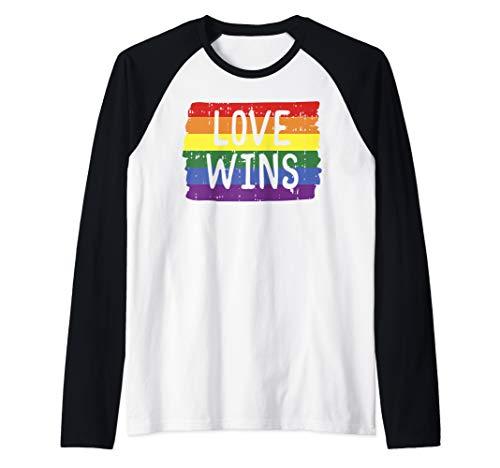 (Love Wins Funny Rainbow Flag Gay LGBT Pride Support Gift Raglan Baseball Tee)