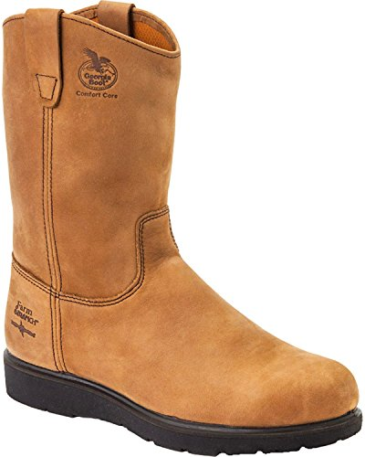 (Georgia Men's Farm and Ranch Wellington Boot Round Toe Tan 8 D(M) US)