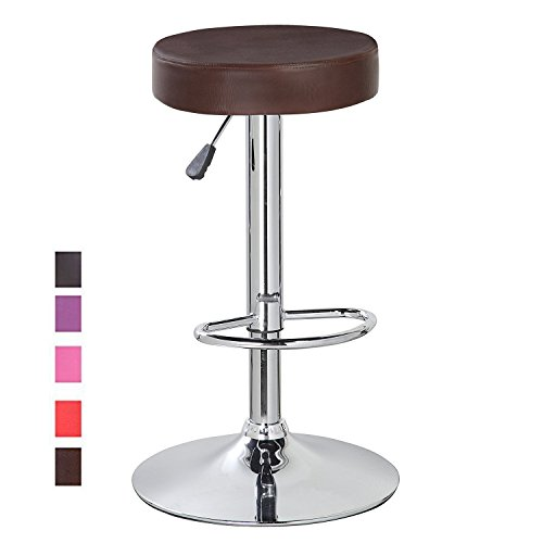 Modern Adjustable Swivel Counter Height Bar Stool Chair with Round Leather Seat and Chrome Leg Brown Set of 1