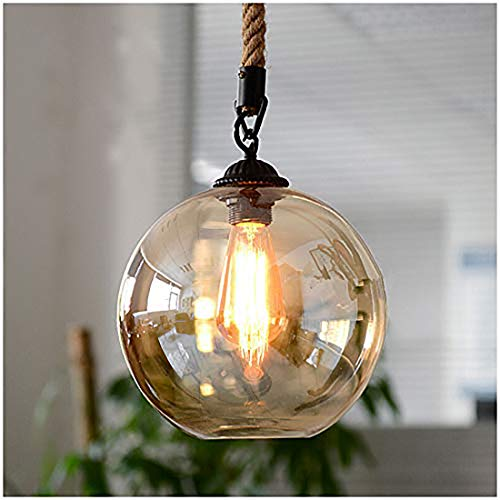 iYoee Vintage Ball Glass Hemp Rope Ceiling Pendant Light Industrial Style Globe Glass Lampshade Hanging Fixture Lighting with Adjustable Cord Length for Kitchen Island Dining Room, use E26 Edison Bulb