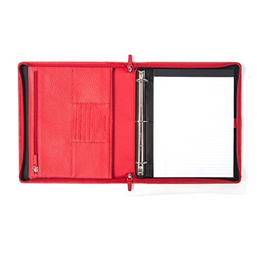 Leatherology Padfolio & 3-Ring Binder with Interior Zippered Pocket for Tablet - Full Grain Leather Leather - Scarlet (red) by Leatherology