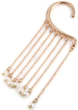 Golden White Pearl Ear Cuff Stud Earring Chains Boho Punk