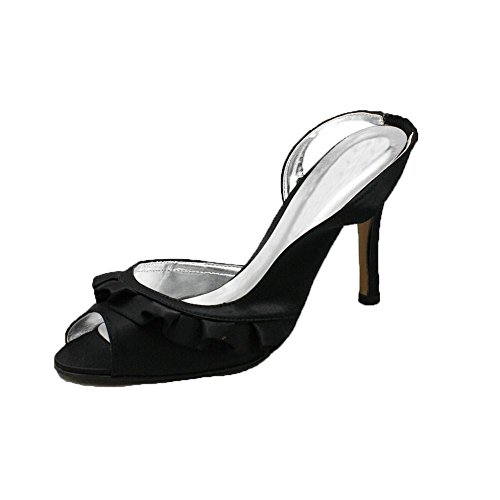 SendIt4Me Señoras Satén de Tacón Alto Zapatos de Dama de Honor/Fiesta con Frente de Volantes Black