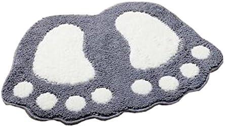 Multicolor Footprint Plush Bathmat Bedroom Hall Rug Absorbent Non-Slip Floor Rug and Carpets Grey