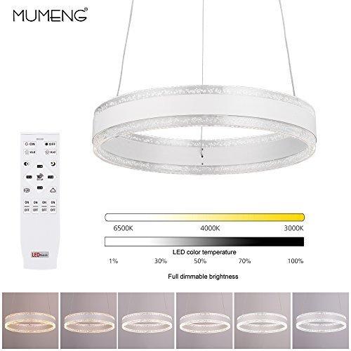 LED Pendelleuchte Dimmbar Hängelampe 36W Deckenlampe mit Fernbedienung für Wohnzimmer Schlafzimmer (Dimmbar)