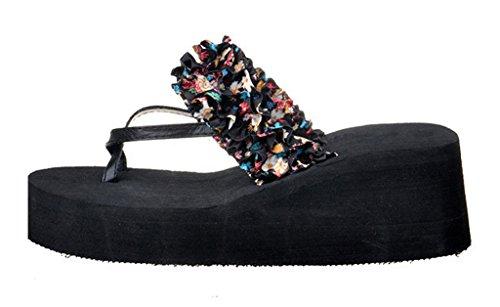 V-SOL Para Mujer Maxi Chanclas Cuña Alta Flip Flops Playa Negro