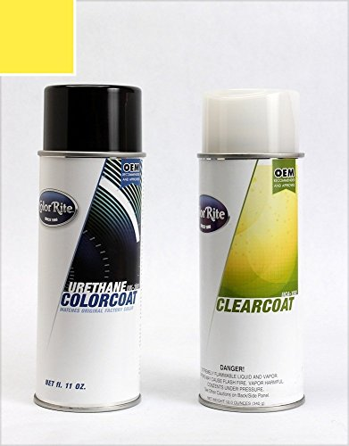 ColorRite Aerosol Automotive Touch-up Paint for BMW All - Dakar Yellow 267 - Color+Clearcoat Package