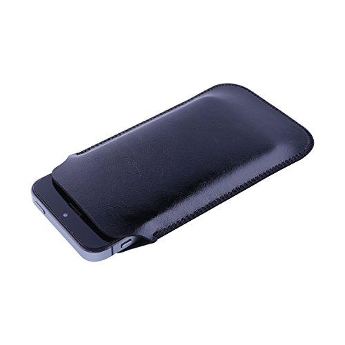 UltraJacket (ウルトラジャケット) Apple iPhone SE / 5S / 5 用 スリップイン スリーブ ポーチ ケース 軽い 薄い 強い&マイクロファイバー中敷 ビーガンレザー (サドルブラック)