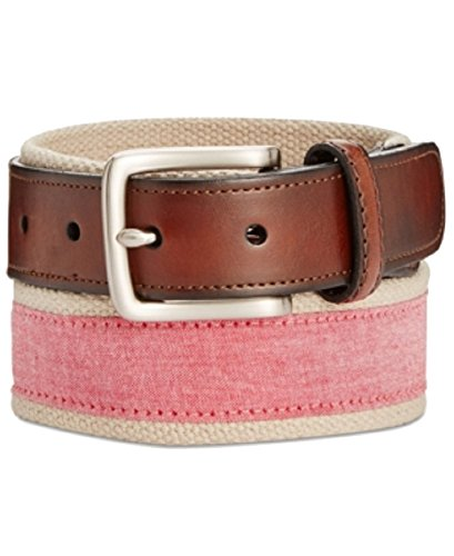 Club Room Men's Chambray Casual Belt (Red, 40) (Club Room Belt)