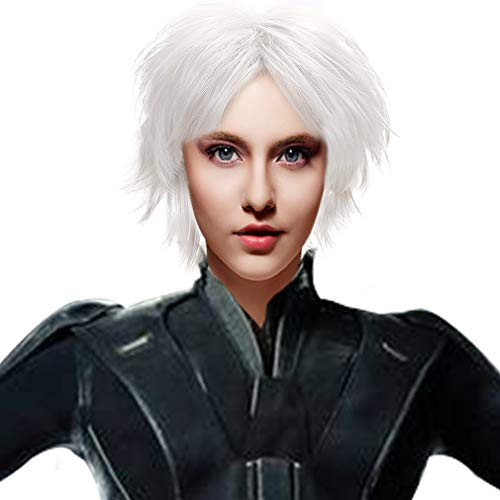 Short White Cosplay Storm Wig Women Girls Synthetic
