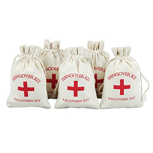 ing Party Favor Bags 4x6 inch RED GLITTER CROSS Bachelorette Hangover Kit Bags Recovery Kit Bags Survival Kit Bags Cotton Muslin Drawstring Bag (Party Survival Kit)