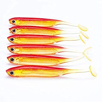 Sellify Esche da Pesca - 6pcs / Lot nuovi 75 millimetri / 2.2g Vivid morbida esche artificiali Loach Esca per la Pesca Swimbait Pesca Worm e esche da Pesca - - (Colore: S59C): S59C