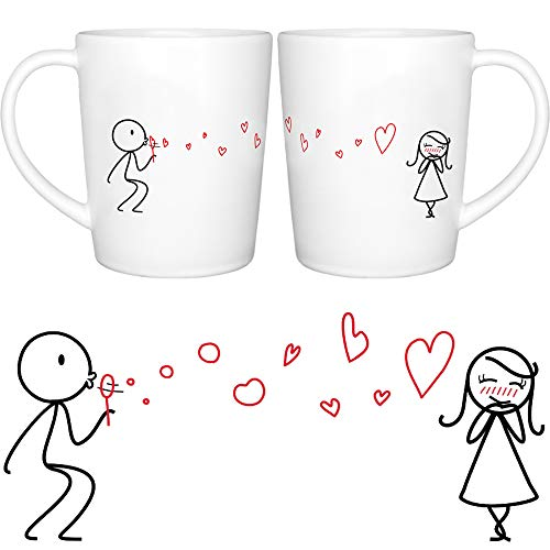 BOLDLOFT From My Heart to Yours His and Hers Matching Couple Coffee Mugs-Couple Mugs Set Gifts for Her Valentines Day Anniversary Wedding Anniversary Christmas Couples Gifts Girlfriend Gift Wife Gift (Matching Mug Set)