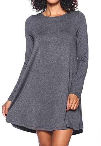 Stretchy Flowy Loose Fit Casual Work Cocktail Beach Lounge Evening Tunic Dresses Regular and Plus Size LS Charcoal L