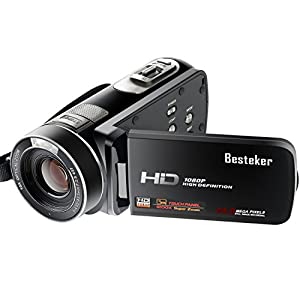 Video Camcorders, Besteker Portable Digital Camcorder HD Max 24.0 MP 1080P DV with 1200X Superzoom 3.0 Inches Touch Screen Remote Control Camera Recorder (HDV-Z80)