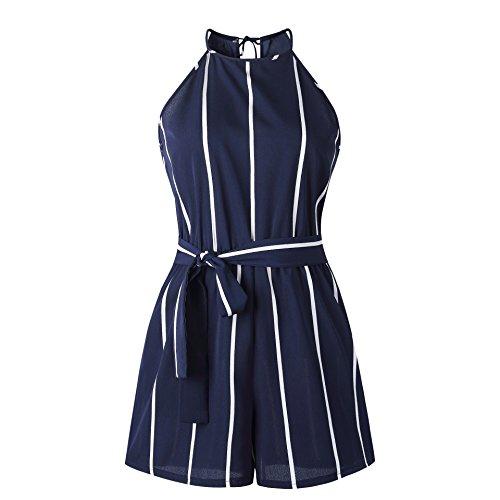 Holiday Pour Shorts Beach Stripe Jumpsuit Combi Mesdames Combinaison Les Avec Alaix Sexy Ceinture short Bleu Femmes 8WpxRwaWn