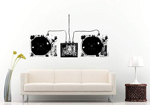 - Wall Decals Cute-Two Dj Vinyl Turn Tables Dj Mixer Wires Blueprint Inside Parts Schematics Music Wall Decal Vinyl Sticker Mural Room Decor - Made in USA-Fast delivery