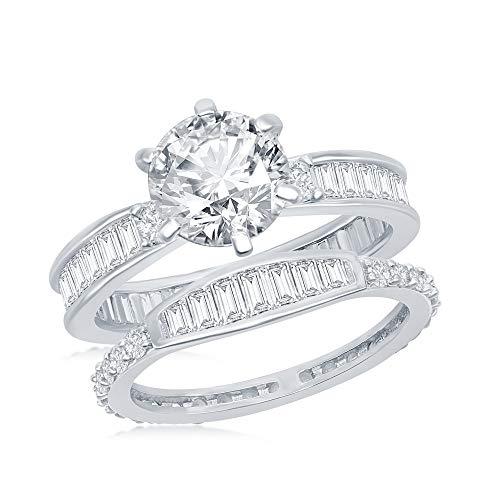 Beaux Bijoux Silvertone Solitaire Simulated Diamond Channel-Set Baguette CZ Engagement Ring and Band Set (Size 7) Channel Set Baguette Engagement Ring