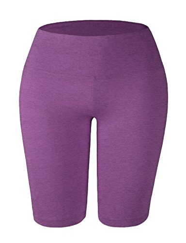 Magenta Short - Doublju Womens Active Tummy Control Workout Legging Yoga Shorts with Plus Size Magenta Large