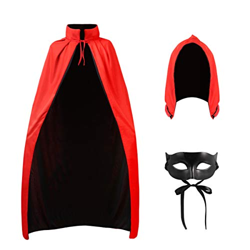 CLISPEED Halloween Cape Vampire Cosplay Costume Reversible Hooded Cloak with Masquerade Mask