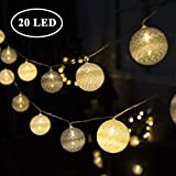 GIGALUMI String Lights Ball 20 LED Warm White Ø 6 cm Cotton Ball String Lights Decoration for Baby Bedroom, Party, Christmas, We