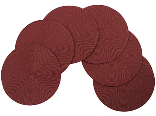 v Vienna Woven Spiral Table Placemats 15 Inches Round Set of 6 Non-Slip Dining & Kitchen Table Mats Burgundy