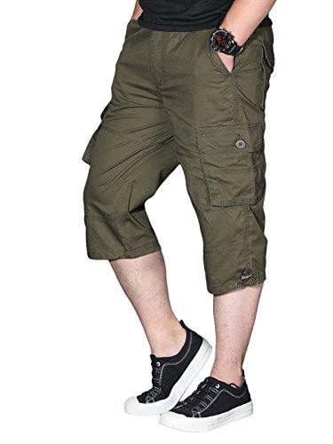 EKLENTSON Mens 3/4 Pants Cargo Work Utility Hiking Camping Long Capri Shorts Olive Green ()
