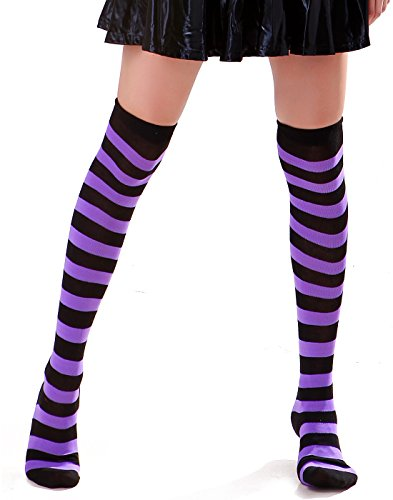 Women's Extra Long Striped Socks Over Knee High Opaque Stockings (Black & Purple) ()