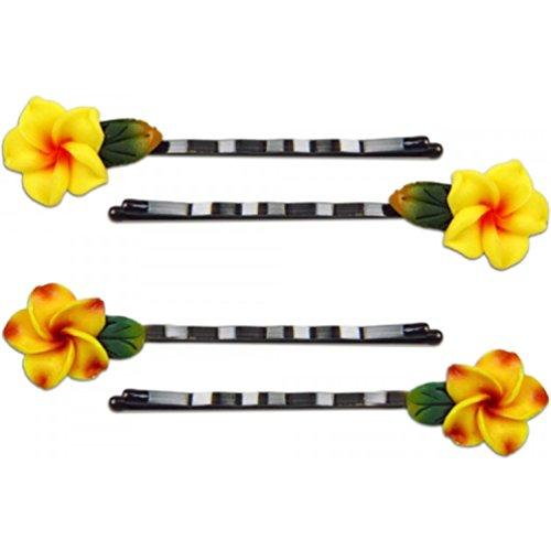 Fimo Hair Flower Mini Bobby Pin Set of 4 Plumeria Yellow ...
