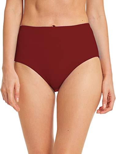 Micosuza Women's Swim Bottom High Waist Retro Basic Full Coverage Bikini Tankini Swimsuit Briefs Burgundy