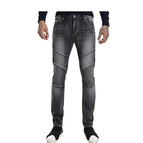 Wardweegion Men's Grey Moto Biker Jeans Zipper Knit Denim Mid-Rise Straight Fit Stretch Fashion Pants (32 in, 36)