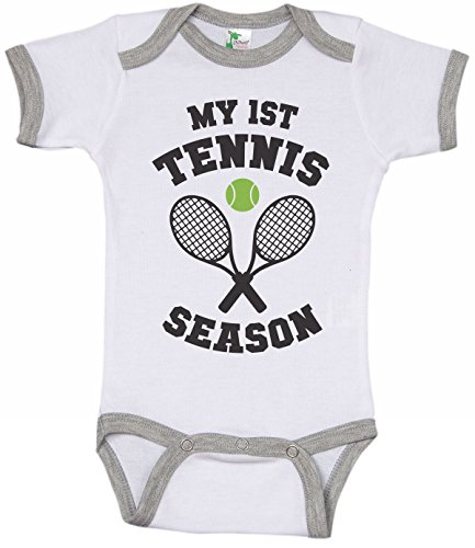 Tennis Baby Ringer Onesie/My First Tennis Season/Unisex Bodysuit (3-6M) White