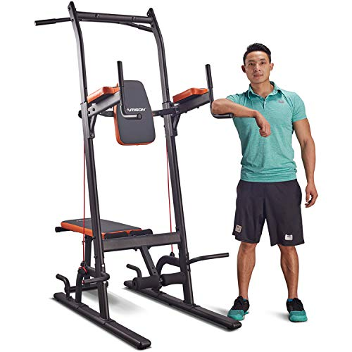 Multifunction Power Tower Dip Station with Bench Adjustable Height for Home Gym Strength Training, Pull Up Push Up Station, Sit Up Station, Vertical Knee Raise and Chin-up Station by HARISON 408